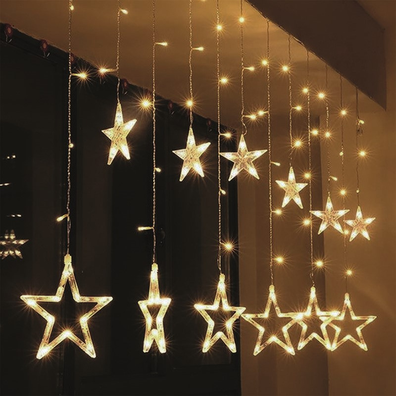 LED vianočné záves, hviezdy, šírka 1,8m, 77LED, IP20, 3xAA, USB ...
